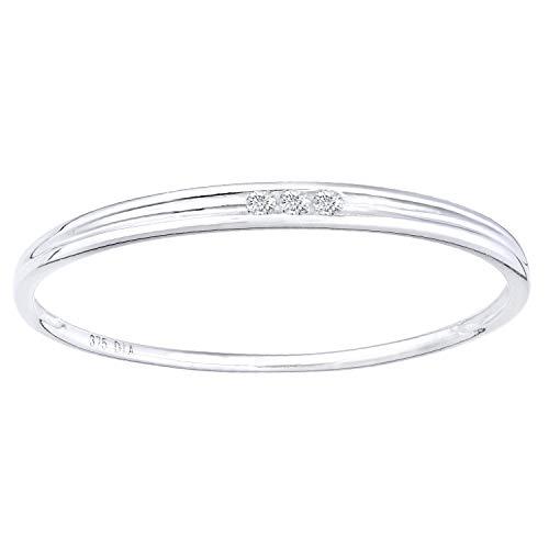 Naava Women White Diamond Promise Ring - Size M PR12844W-M
