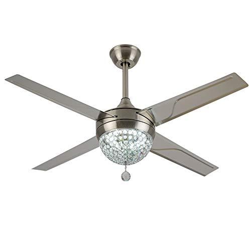 OUKANING Ventilador de techo moderno de cristal con mando a distancia, ventilador eléctrico, lámpara LED de araña, 4 aspas de acero inoxidable, 100 cm, para textiles del hogar, salón o cena