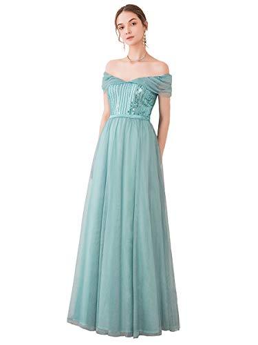 Ever-Pretty A-línea Vestido de Fiesta Fuera del Hombro Tul Lentejuela para Mujer Dama de Honor Dasty Navy 36