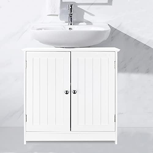 HOMVENT Pedestal Sink Storage Cabinet Under Sink Vanity Cabinet Bathroom Sink Cabinet with Pedestal Hole Space Saver Organizer Freestanding with Internal Shelf 2 Doors (Under Sink Cabinet)