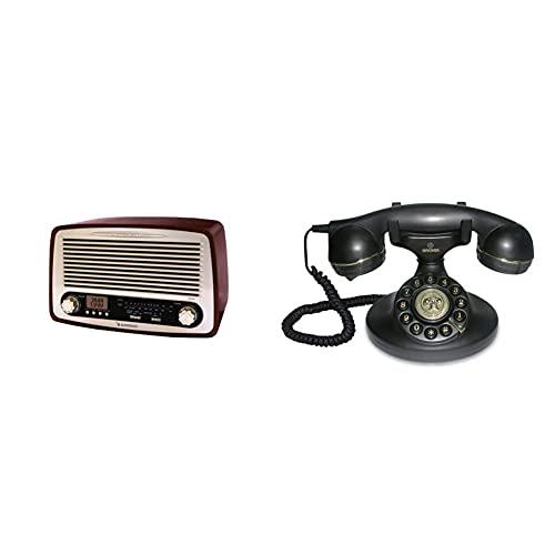 Sunstech Rpr4000, Radio De Sobremesa, Madera + Brondi Vintage 10 Teléfono Fijo Analógico, Color Negro