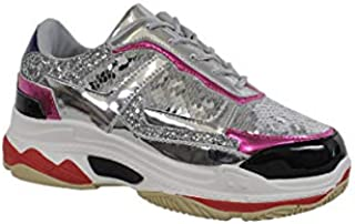 Yoki Womens Fashion Chunky Heavy Triple Sole Metallic Sequins Color Block Dad Sneakers Trendy TUBULER-04 Tennis Shoes