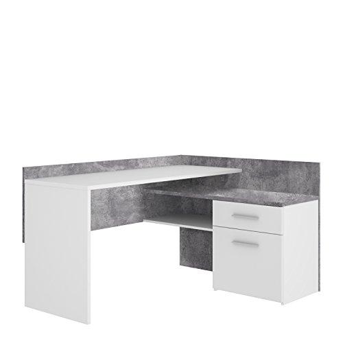 FORTE MT939-C251 Net106 Eck-Schreibtisch, 1 Türe und 1 Schubkasten, Griffe alufarbig, Holz, Betonoptik + Weiß, 111.8 x 140 x 79.5 cm