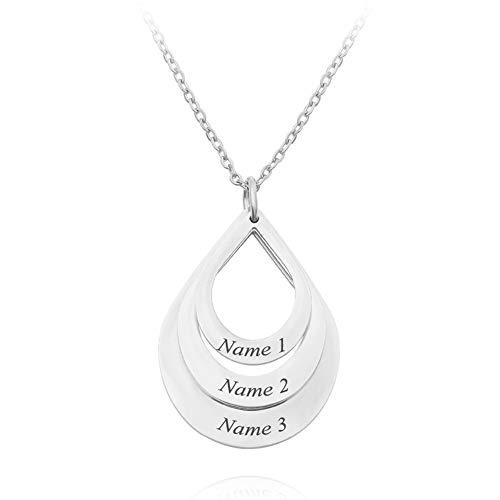 Gredstar Personalisierte Namenskette mit Gravur Tropfenform Halskette-Anhänger mit 3 Namen aus Edelstahl (Silber)