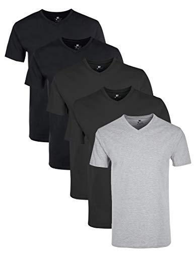 Lower East Le156 T-Shirt Homme, Multicolore (Anthrazit Melange/Schwarz/Hellgrau Melange), XXX-Large