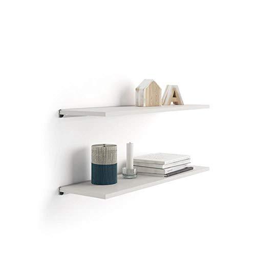 Mobili Fiver, Par de estantes Evolution 80x15 cm Fresno Blanco, con Soporte de Aluminio Gris, Aglomerado y Melamina/Aluminio, Made in Italy