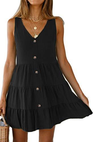 Halife Babydoll Dress for Women Summer Ruffle Tiered Button Front Dresses Short Vintage Black M