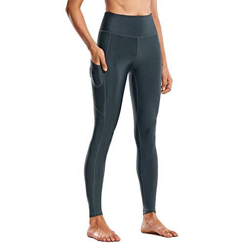 TIZUPI 2020 Legging Damen Sport Erweiterte Yogahosen Quick Dry Fitness Sport mit Taschen Yoga Fitness Gym Pilates Hohe Taille Mantel Einfarbig(C-Blau,S