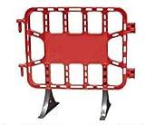 Valla de plástico roja peatonal obra, valla reforzada con patas extraíbles de 1 metro (1- Valla)