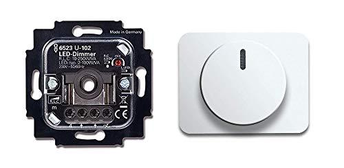 BUSCH-JÄGER, LED-Drehdimmer (LED Dimmer) 6523 U-102 (6523U 102) 6523U102 mit Zentralscheibe 6540-24G in Studioweiß hochglanz Serie: alpha