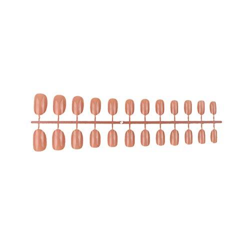 Doux couleur de bonbon tête ovale faux ongles acrylique faux ongles conseils de salon d'art avec 2g colle à ongles plein court rond ongles conseils 24 pcs/set-16-