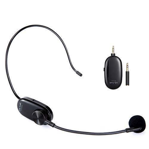 Jelly Comb Micrófono inalámbrico para grabación,micrófono UHF En la cabeza y manos libres 2 en 1, alcance de 50 m, micrófono inalámbrico recargable, para iPhone, iPad, ordenador, cámara