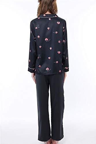 tutuanna(チュチュアンナ)『サテンいちご柄衿付前開き長袖パジャマ』