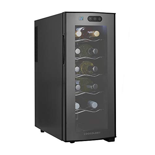 Cookology TWC12BK Tall 12 Bottle Thermoelectric Wine Cooler, Less Noise & Vibration