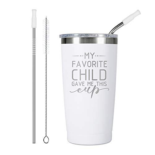 ElegantPark Mom Dad Gifts for Parents My Favorite Child Gave Me This Cup Coffee Tumbler Birthday Christmas Mother's Day Father's Day Gifts from Daughter Son Insulated Wine Tumbler White