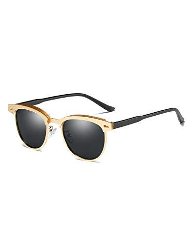 Rocf Rossini Polarisierte Sonnenbrille Herren Damen Retro Sonnenbrille Gold Sunglasses Men Polarisierte Sonnenbrille Retro Frauen UV400 (Gold)