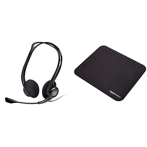 Logitech PC 960 Stereo Headset USB & AmazonBasics - Gaming-Mauspad