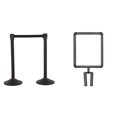 US Weight - U2000 Sentry Stanchion with 6.5 Foot Retractable Belt (2-Pack), Black & U2513 Plastic Stanchion Sign Holder with Plexiglass Covers for USW ChainBoss and Sentry Stanchions