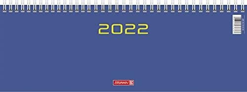BRUNNEN 1077261032 Tischkalender/Querterminbuch Modell 772, 2 Seiten = 1 Woche, 29,7 x 10,5 cm, Karton-Umschlag blau, Kalendarium 2022, Wire-O-Bindung