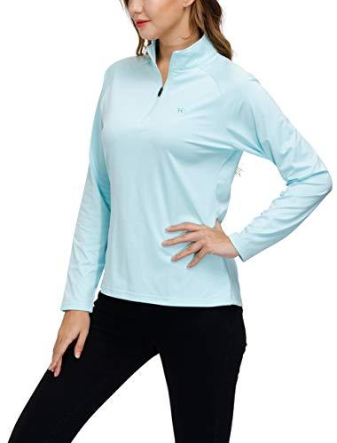 MoFiz Damen Langarmshirts Pullover Mikrofleece Winter Outdoor Trainings Sportshirt Yoga Sweatshirts mit Reißverschluss Stehkragen Blaugrün L