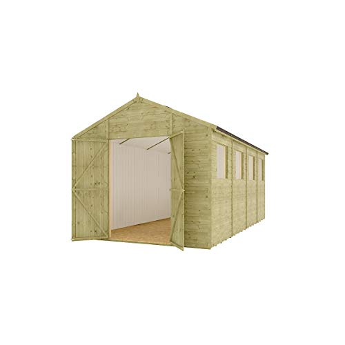 16 x 8 Pressure Treated Modular Hobbyist Apex Central Double Door Windowed Garden Shed with 11mm Tongue and Groove and OSB Roof 16ft x 8ft