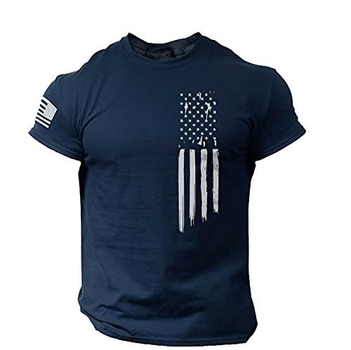 Playeras Y Camisetas Deportivas para Hombre Camiseta de Manga Corta con Estampado de Jersey con Cuello Redondo del Día de La Independencia para Hombre