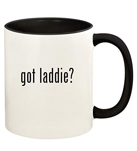 got laddie? - 11oz Ceramic Colored Handle and Inside Coffee Mug Cup, Black