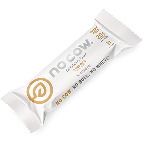 No Cow Protein Bars, S'mores, 20g Plant Based Vegan Protein, Keto Friendly, Low Sugar, Low Carb, Low Calorie, Gluten Free, Naturally Sweetened, Dairy Free, Non GMO, Kosher, 12 Pack