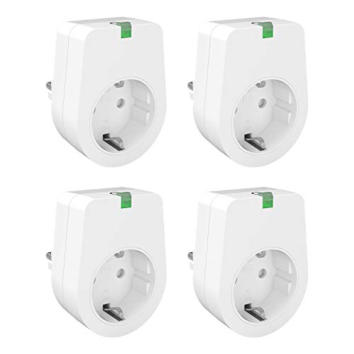 Lunvon Smart WLAN Steckdose Intelligente WiFi Steckdosen Plug Funktioniert mit Android iOS Google Home, Stecker Fernbedienbar auf NUR 2.4 GHz Netzwerk, Stimmenkontrolle, 3000W, 4 Pack