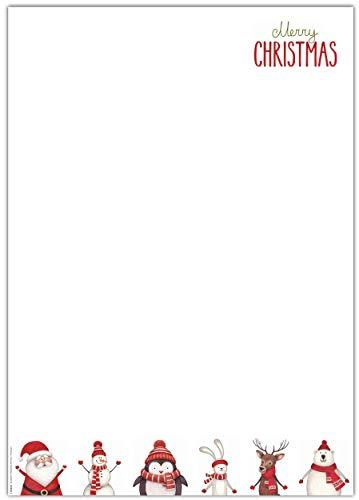 ArtUp.de 120 Blatt Weihnachtsbriefbögen DIN A4 für geschäftliche und private Weihnachtspost - Motivpapier Kopierpapier Schreibpapier Bastelpapier Laserdrucker Inkjet Tintenstrahldrucker