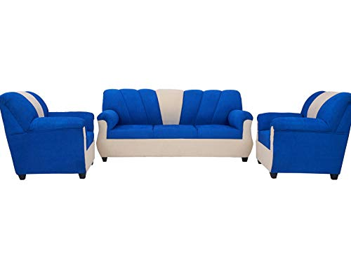 Furniture World - Arica Sofa Sets in Jute Fabric, 3+1+1 Sofa Sets in Blue & Off White Color - Living Room Furniture
