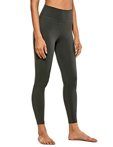 CRZ YOGA Damen Sports Yoga Leggings Sporthose mit Hoher Taille-Nackte Empfindung -63cm Olivgrün M(40)