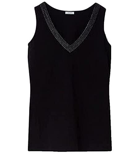 Liu.Jo - Camiseta de tirantes para mujer con pedrería, color negro, talla S