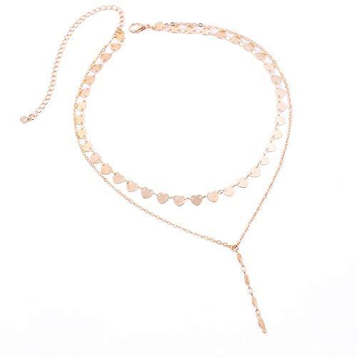 Halskette Weibliche Europäische Und Amerikanische Mode Mehrschichtige Pfirsich Herz Pailletten Handgemachte Accessoires Reiskorn Anhänger