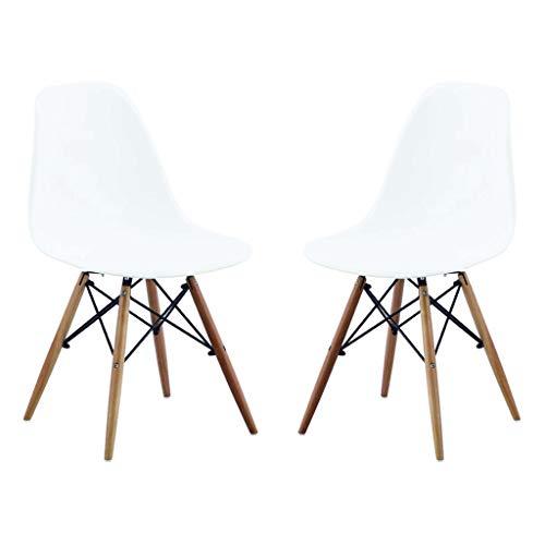 Milani Home s.r.l.s. Set di 2 Sedie di Design Moderne in ABS Bianco Struttura in Metallo Verniciato Nero Gambe in Legno Massello di Faggio