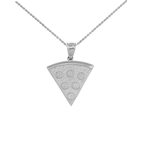 14 ct White Gold Pizza Slice Friendship Pendant Necklace (Comes with an 18' Chain)