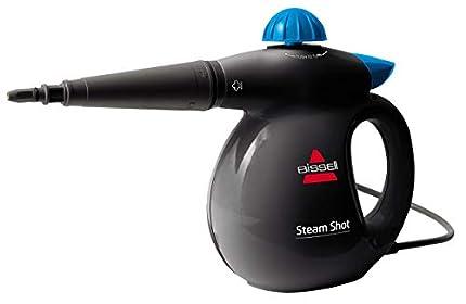 Bissell Steam Shot Vaporeta de Mano, 1050 W, 0.36 litros, 83 Decibelios, 18/10 Steel, Titanio/Azul