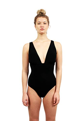 Juicy Couture Terry Tall Triangle One Piece Swimsuit with Embroidered Logo (X-Large, Black)