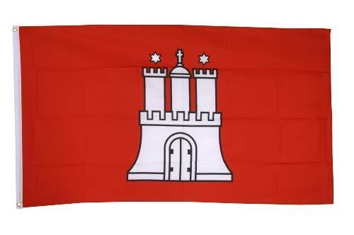 Flaggenfritze® Fahne Flagge Hamburg 90 x 150 cm Premiumqualität