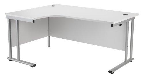 Koppla av kontoret smart 1600 mm vänster hand halvmåne skrivbord spargris trä kontor skrivbord ergonomisk möbler, arbetsstation, hörnskrivbord, dator/PC bord vit ram