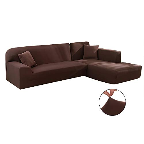 Iraza 2 Piezas Funda de Sofa Elástica Chaise Longue Brazo Largo Modelo Tunez Desde 190 a 300 cm,3/4 Plazas (Marrón, 230_x_300_cm)