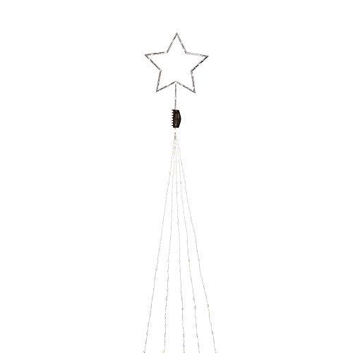 Konstsmide, 6315-890, LED Baummantel mit silberfarbenem Top-Stern 5 Stränge à 48 Dioden, Stern mit 34 Dioden, 274 bernsteinfarbenen Dioden , 4, 5V_Innentrafo, silberfarbener Draht