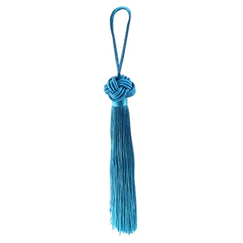 Bordado Chino Nudo Borlas Colgantes Decoraciones De Hogar Coche - Azul claro