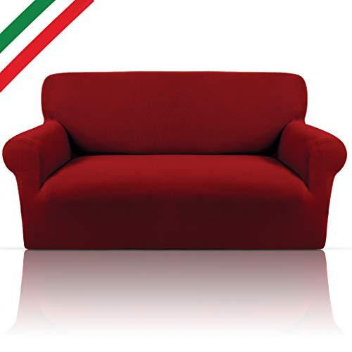 Copridivano Bielastico Elegante Tessuto Cotone Puro Elasticizzato Con Braccioli Sagomati Made In Italy 6 Colorazioni E Misure Copri Divano Per Arredamento Soggiorno 2 Posti (da 140 a 165cm) Bordeaux