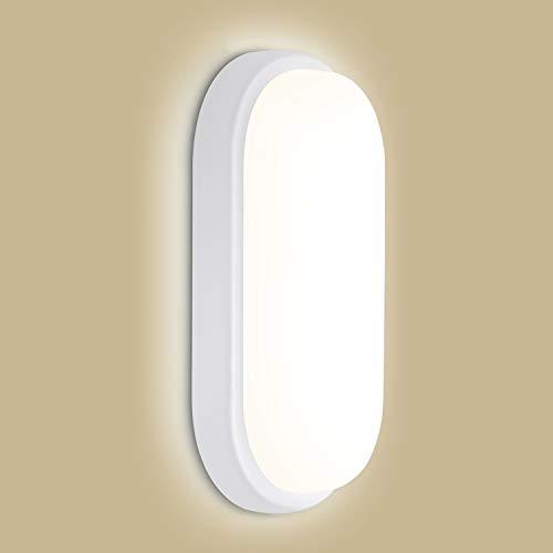 Oeegoo Led Kellerlampe, 12W 960Lm Oval Led Leuchte, IP54 Wasserfest LED Deckenleuchte Bad, Flimmerfreie Led Wandleuchte für Feuchtraum, Diele, Flur, Balkon, Werkstatt, 4000K