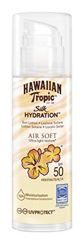 Hawaiian Tropic Silk Air Soft SPF 50 - Crema Solar Ultraligera con Lazos de Seda, 150 ml