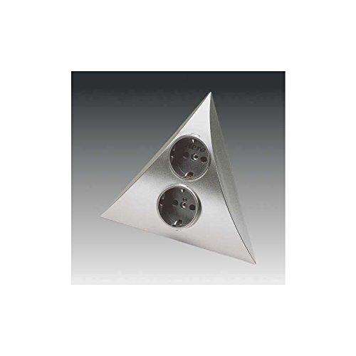 Doppelsteckdose Steckdosen - Pyramiden - Element in Edelstahl Optik ohne Schalter für Eckeinbau mit zwei Schukosteckdose 2 m Anschlussleitung 250 V Anschluss Steckdose Ecksteckdose Hera Dreiecksteckdose