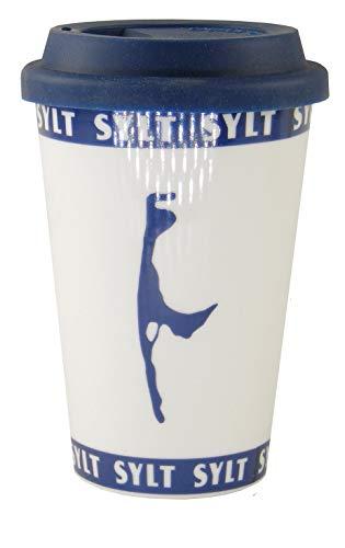 osters muschel-sammler-shop Kaffeebecher to GO Weiss mit blauen Sylt- Logo/Teebecher/Weiss-blau/Syltmotiv/Motiv Sylt/Sylter Becher/Strandtasse-Becher/Sylt - Geschenk-Artikel