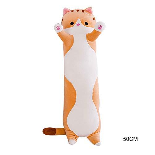 JKHK Cute Plush Cats Doll,Soft Stuffed Cuddle Pillow, Plush Cat Doll Stuffed Kitten Pillow Doll Toy, Long Cat Sleeping Pillow Cushion Gift for Kids Girlfriend (50/70/90cm)