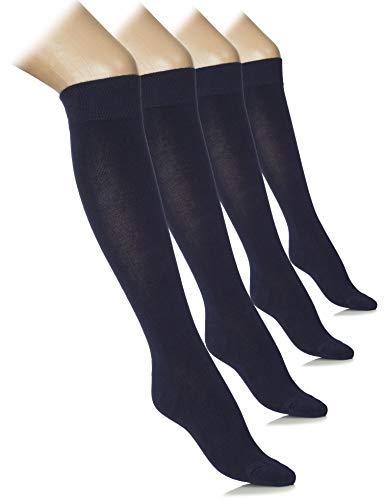 Hugh Ugoli Women's Lightweight Knee High Dress Socks Bamboo Comfort Seam, 4 Pairs, Navy...